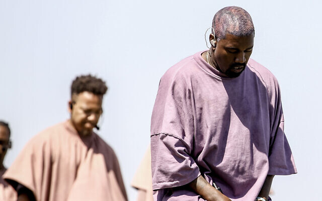 Kanye West performs with his Sunday Service choir at the Coachella Valley Music And Arts Festival in Indio, California, April 21, 2019. (Rich Fury/Getty Images for Coachella via JTA)