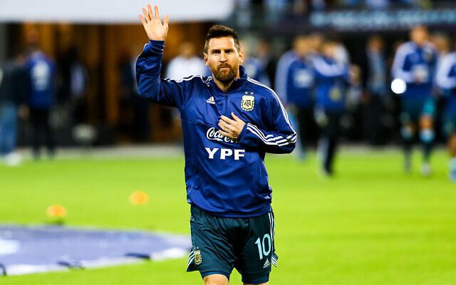 Argentina's Lionel Messi at the Bloomfield stadium in Tel Aviv, November 18, 2019. (Flash90)