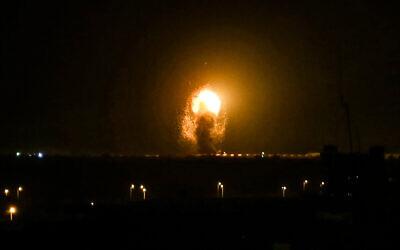 Illustrative: An Israeli airstrike in Khan Younis, in the southern Gaza Strip, November 27, 2019. (Abed Rahim Khatib/Flash90)