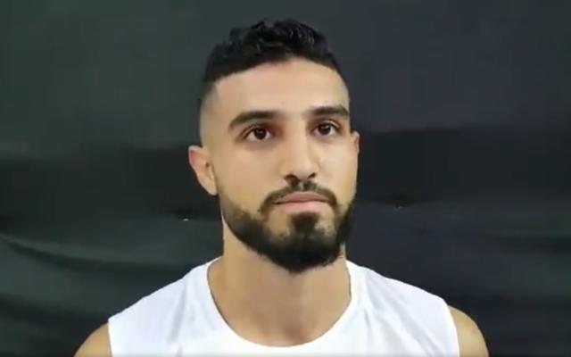 Israeli kickboxer Ameer Asad at the world championship in Turkey, November 27, 2019. (Screenshot: Twitter)