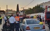 Emergency teams arrive at a house fire in Netanya on November 22, 2019. (Magen David Adom)