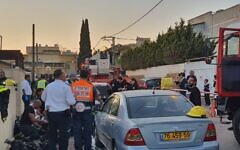 Emergency teams arrive at a house fire in Netanya on November 22, 2019. (Magen David Adom)
