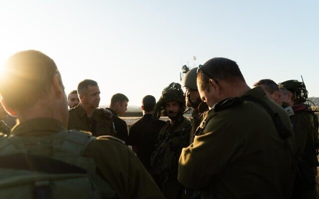 Officers in the IDF Northern Command give a briefing to IDF Chief of Staff Aviv Kohavi, second from left, and other top officers during a surprise exercise in northern Israel in November 2019. (Israel Defense Forces)