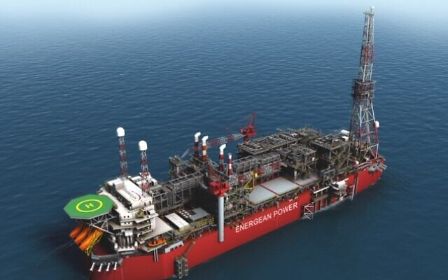 An illustration of a floating production and storage rig of Energean (Courtesy)