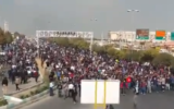 Protesters block a road in Shiraz, Iran, November 16, 2019 (video screenshot)