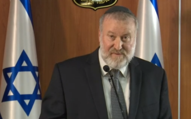 Attorney General Avichai Mandelblit addressed the press after announcing his decision to indict Prime Minister Benjamin Netanyahu with bribery, fraud and breach of trust (TV screenshot)