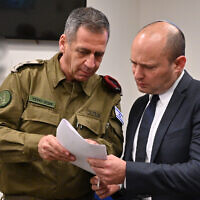 New Defense Minister Naftali Bennett (R) meets with IDF Chief of Staff Aviv Kohavi on November 13, 2019. (Ariel Hermoni/Defense Ministry