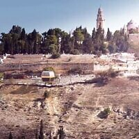 Screen capture from a promotional video for the Jerusalem Old City cable car project showing an artist's impression of cars passing over the Hinnom Valley. (YouTube)