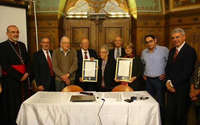 Posthumous awards given at a ceremony in Jerusalem to relatives of Rabbi Nathan Cassuto and Matilda Cassin who worked to save Jews as part of the underground in Florence, Italy during World War II (Live Giving)