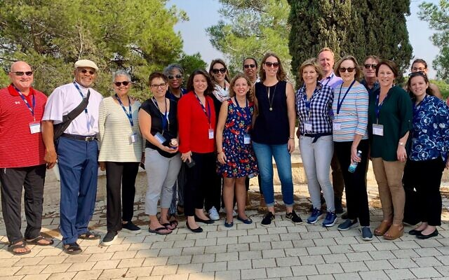 Members of a bipartisan delegation of US Congresswomen at a kibbutz near the Gaza border, November 2019.  The group included Congresswomen Bonnie Watson Coleman, Brenda Lawrence, Angie Craig, Mikie Sherrill, Debbie Wasserman Schultz, Susie Lee and Martha Roby.(Courtesy)