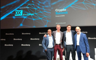 Representatives of DX.Exchange at Bloomberg's Crypto Summit in London, December 2018 (Facebook)