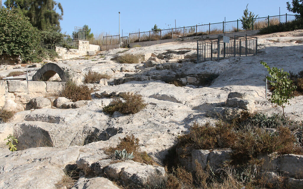 The Gan Hayeda archaeological site in Pisgat Zeev, where archeologists uncovered remains of several Jewish ritual baths (mikvas) complete with steps dating back to the late Second Temple period two millennia ago. (Shmuel Bar-Am)
