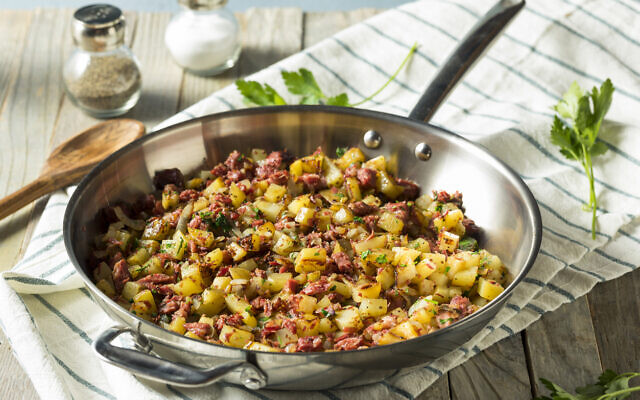 Savory homemade corned beef hash in a pan. (Courtesy Jenny Goldfarb/ Kathleen Lantos Photography)