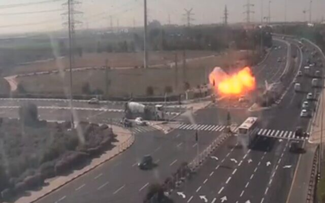 The moment a rocket slammed into Route 4 near Gan Yavne on November 12, 2019 (Screen grab)