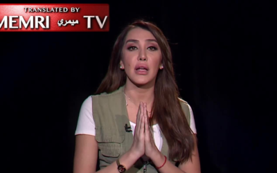 Jordanian television host Rana Hmouz in a November 12, 2019 broadcast on Jordan Today TV in which she called to cancel the Israel-Jordan peace agreement and 'gouge out the eyes of the Zionists.' (YouTube screen capture)