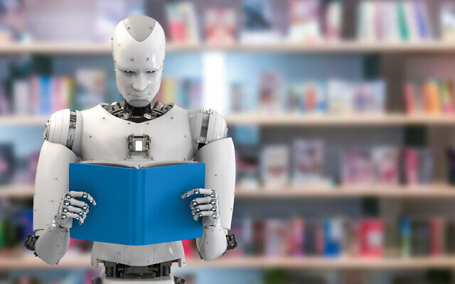 Illustrative image of a robot reading a book in library (PhonlamaiPhoto; iStock by Getty Images)