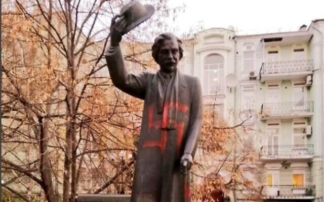 A monument to Yiddish writer and humorist Sholem Aleichem in the Ukrainian capital of Kyiv was vandalized with swastikas on November 25, 2019. (Twitter)