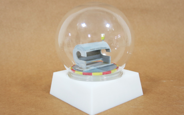 One of Shaul Cohen's iconic snow globes, designed with a humorous twist (Courtesy Shaul Cohen)