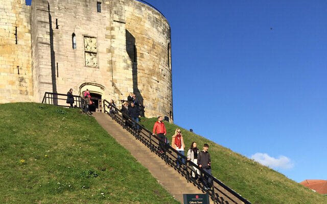 The stone steps leading up to Clifford's Tower, York, site of the most notorious anti-Semitic bloodshed in medieval English history. (Times of Israel staff)