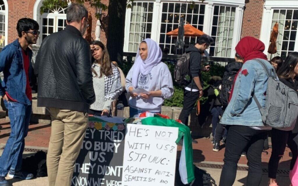 Illustrative: Students for Justice in Palestine hold an 'emergency teach-in' at the University of Illinois Urbana-Champaign in 2019 after the school chancellor condemned an anti-Semitic presentation that included anti-Zionist material. (Courtesy AMCHA)