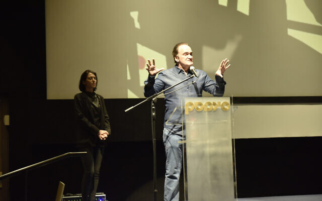 Acclaimed director Quentin Tarantino at the Jerusalem Cinematheque on December 14, 2019, to screen the documentary 'QT8: The First Eight' by Tara Woods (Courtesy Shaul Weinstein)