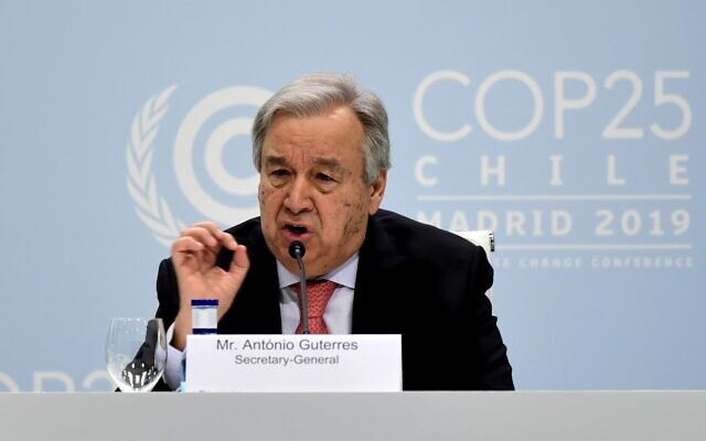 United Nations Secretary-General Antonio Guterres gives a press conference, at the 'IFEMA - Feria de Madrid' exhibition centre, in Madrid, on December 1, 2019, on the eve of the opening of the UN Climate Change Conference COP25. - Spain's Socialist government offered to host this year's UN climate conference, known as COP25, from December 2 to December 13, 2019, after the event's original host Chile withdrew last month due to deadly riots over economic inequality. Spanish authorities expect some 25,000 participants and 1,500 journalists from around the world to attend the two-week gathering in Madrid. (Photo by CRISTINA QUICLER / AFP)