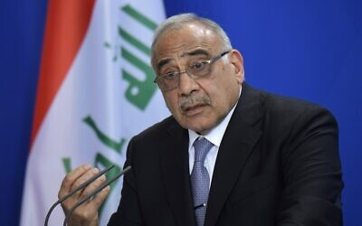 In this file photo taken on April 30, 2019, Iraqi Prime Minister Adel Abdel Mahdi speaks during a press conference at the German Chancellery in Berlin. (Tobias SCHWARZ/AFP)