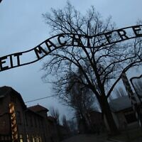 The entrance to Auschwitz, a Nazi death camp, in Oswiecim, Poland, on December 4, 2008. (Valery Hache/AFP)