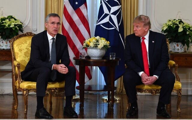 US President Donald Trump (R) meets with NATO Secretary General Jens Stoltenberg at Winfield House, London, on December 3, 2019. (Nicholas Kamm/AFP)