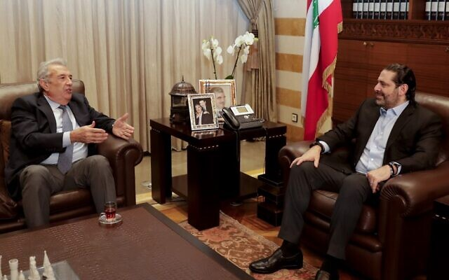 Resigned Lebanese prime minister Saad Hariri (R) meets with Samir Khatib, a Lebanese businessman who is the front-runner to form a new government, in the capital Beirut on December 8, 2019. (ANWAR AMRO / AFP)