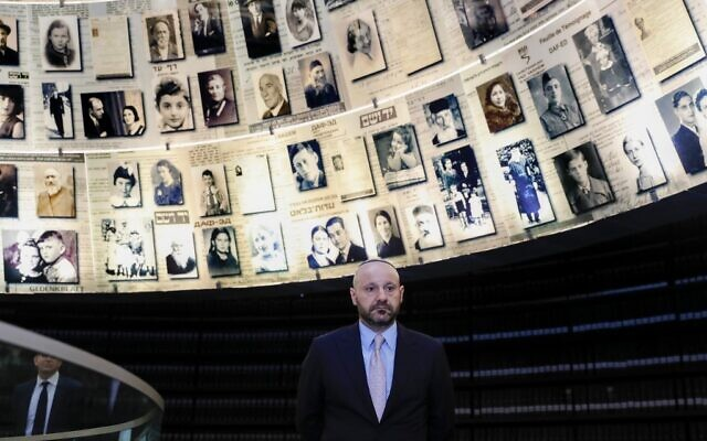 Lebanese-Swiss businessman Abdallah Chatila, who purchased items belonging to Adolf Hitler at a public auction in Europe to ensure that they do not get into neo-Nazi hands, visits the Hall of Names at the Yad Vashem Holocaust Memorial museum in Jerusalem on December 8, 2019. (AHMAD GHARABLI / AFP)