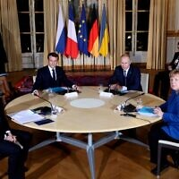 (From L) Ukrainian President Volodymyr Zelensky, French President Emmanuel Macron, Russian President Vladimir Putin, and German Chancellor Angela Merkel attend a meeting on Ukraine at the Elysee Palace,in Paris,  on December 9, 2019. (Thibault Camus/ POOL/ AFP)