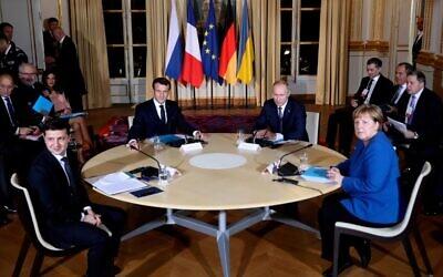 (From L) Ukrainian President Volodymyr Zelensky, French President Emmanuel Macron, Russian President Vladimir Putin, and German Chancellor Angela Merkel attend a meeting on Ukraine at the Elysee Palace,in Paris,  on December 9, 2019. (Thibault Camus/ POOL/ AFP)