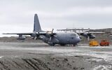 Picture taken in January 2019 at Chile's Antarctic base President Eduardo Frei, in Antarctica, showing a Chilean Air Force C-130 Hercules cargo plane as the one that disappeared in the sea between the southern tip of South America and Antarctica on December 9, 2019 with 38 people aboard. (Photo by Javier TORRES / AFP)