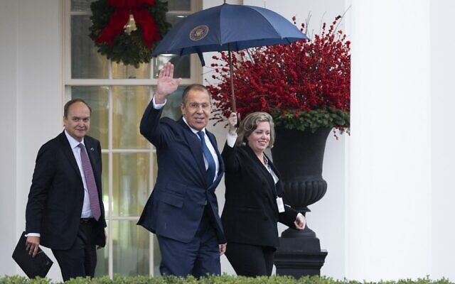 Russian Foreign Minister Sergey Lavrov departs the White House in Washington on December 10, 2019, after meeting with US President Donald Trump. (Jim Watson/AFP)