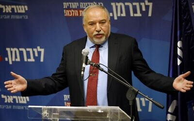 Yisrael Beitenu's party head Avigdor Liberman delivers a statement to the press on December 11, 2019 in Jerusalem. (Menahem KAHANA / AFP)