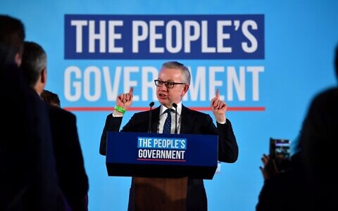 Conservative MP Michael Gove speaks during a Conservative Party campaign event to celebrate the result of the General Election, in central London on December 13, 2019 (Ben Stansall/AFP)