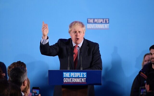 Britain's Prime Minister and leader of the Conservative Party, Boris Johnson speaks during a campaign event to celebrate the result of the General Election, in central London on December 13, 2019 (DANIEL LEAL-OLIVAS / AFP)