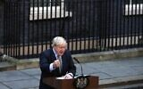 Britain's Prime Minister Boris Johnson delivers a speech outside 10 Downing Street in central London on December 13, 2019, following his Conservative party's general election victory. (Adrian Dennis/AFP)