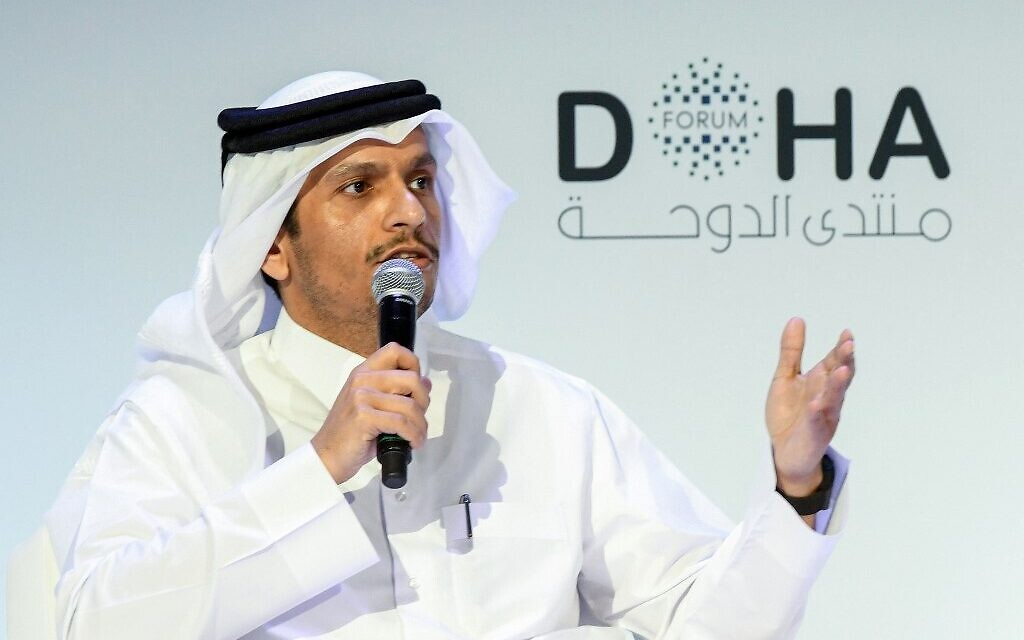Qatari Deputy Prime Minister and Minister of Foreign Affairs Sheikh Mohammed bin Abdulrahman Al-Thani speaks during the opening session of the Doha Forum in the Qatari capital on December 14, 2019. (Mustafa Abumunes / AFP)
