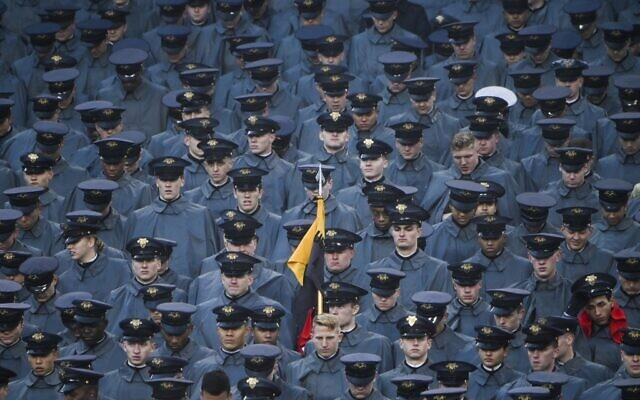 Navy cadets watch as US President Donald Trump attends the Army-Navy football game in Philadelphia, Pennsylvania on December 14, 2019. (Andrew CABALLERO-REYNOLDS / AFP)