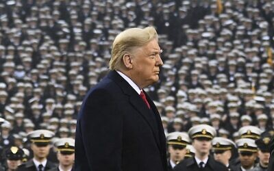 US President Donald Trump at the Army-Navy football game in Philadelphia, Pennsylvania, on December 14, 2019. (Andrew CABALLERO-REYNOLDS / AFP)