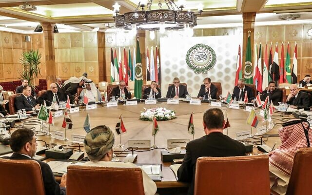 Permanent delegates to the Arab League attend a meeting at its headquarters in the Egyptian capital Cairo on December 19, 2019, to discuss Brazil's new trade office in Jerusalem. (Mohamed el-Shahed/AFP)
