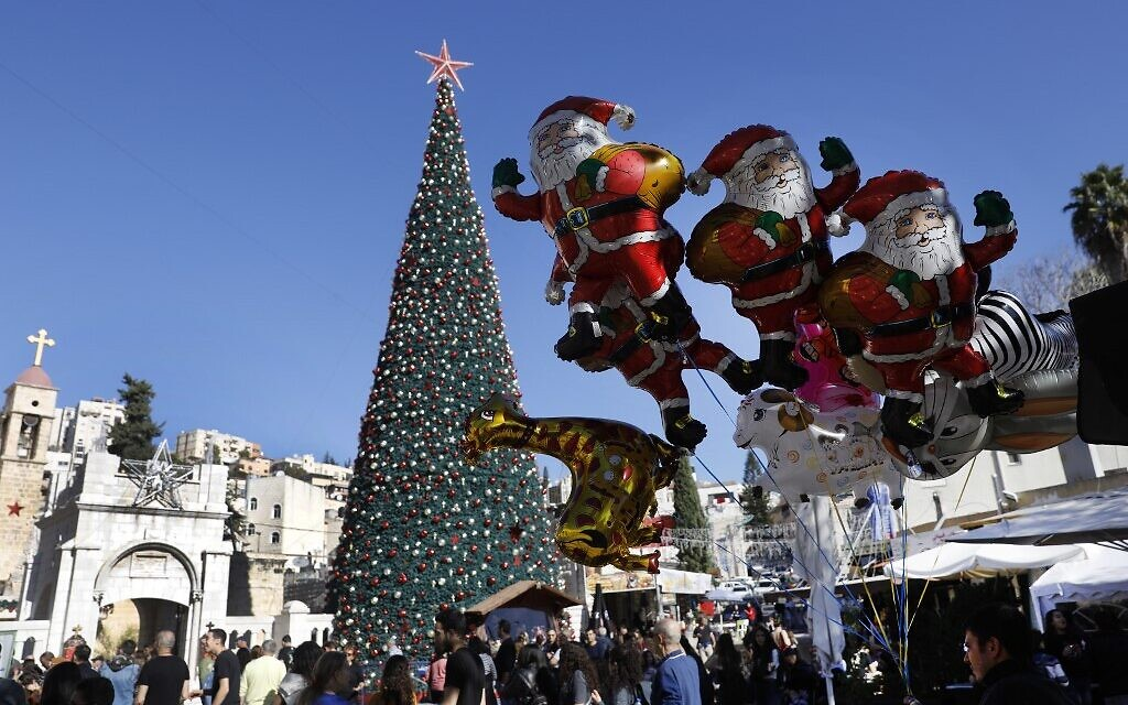 A picture taken on December 20, 2019, shows Christmas preparations in the northern Arab-Israeli city of Nazareth. (Menahem Kahana / AFP)