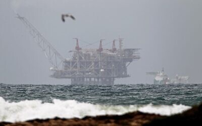 The platform of the Leviathan natural gas field in the Mediterranean Sea pictured from the northern beach of Dor on December 31, 2019. (Jack Guez/AFP)