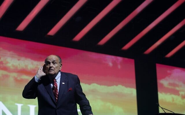 Trump Attorney Rudy Giuliani addresses the crowd at the Turning Point USA Student Action Summit on December 19, 2019 in Palm Beach, Florida. (Saul Martinez/Getty Images/AFP)