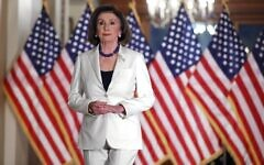 Speaker of the House Nancy Pelosi announces that the House will proceed with articles of impeachment against President Donald Trump at the Speaker's Balcony in the US Capitol December 5, 2019 in Washington, DC. (Chip Somodevilla/Getty Images/AFP)