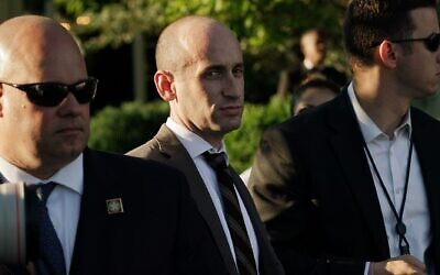 White House senior adviser Stephen Miller, center, is seen during a congressional picnic on the South Lawn of the White House, June 21, 2019. (Alex Wong/Getty Images via JTA)