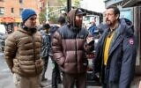 From left, Benny Safdie, Josh Safdie and Adam Sandler on the set of 'Uncut Gems.' (Courtesy)