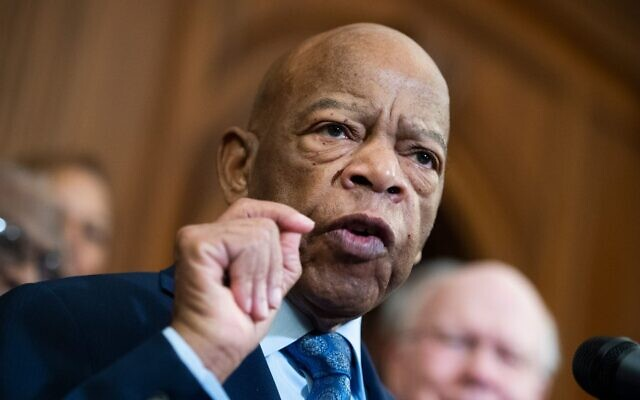 Rep. John Lewis speaks at a news conference in the Capitol on the Voting Rights Advancement Act, Deember. 6, 2019. (Tom Williams/CQ-Roll Call, Inc via Getty Images via JTA)